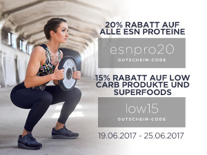 20 % auf ESN Protein & 15 % auf Low Carb, Superfoods, uvm.