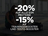 20% auf ESN Proteine + 15% auf Trainings- & Testo-Booster!